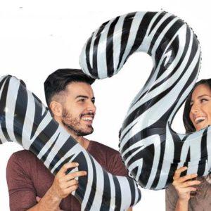 Cijfer zebra 86 cm